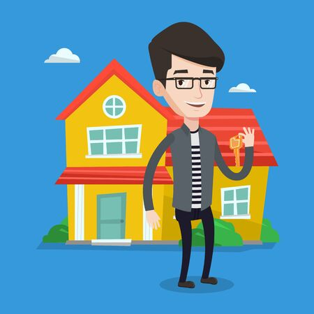 estate agent: Young male real estate agent holding key. Smiling real estate agent with keys standing on a background of the house. Happy new owner of a house. Vector flat design illustration. Square layout.