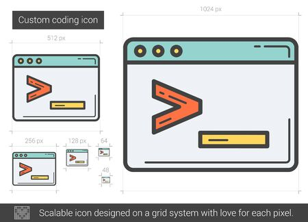 Custom coding vector line icon isolated on white background. Custom coding line icon for infographic, website or app. Scalable icon designed on a grid system.