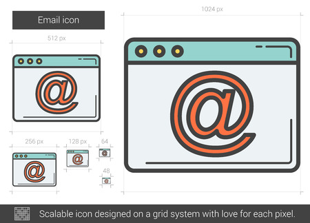 Email vector line icon isolated on white background. Email line icon for infographic, website or app. Scalable icon designed on a grid system. Illustration