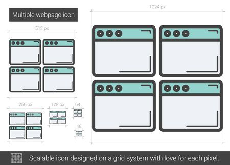 webpage: Multiple webpage vector line icon isolated on white background. Multiple webpage line icon for infographic, website or app. Scalable icon designed on a grid system.