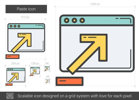 paste: Paste vector line icon isolated on white background. Paste line icon for infographic, website or app. Scalable icon designed on a grid system.