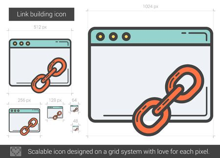 link building: Link building vector line icon isolated on white background. Link building line icon for infographic, website or app. Scalable icon designed on a grid system. Illustration