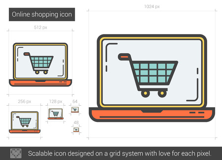 scalable: Online shopping vector line icon isolated on white background. Online shopping line icon for infographic, website or app. Scalable icon designed on a grid system.