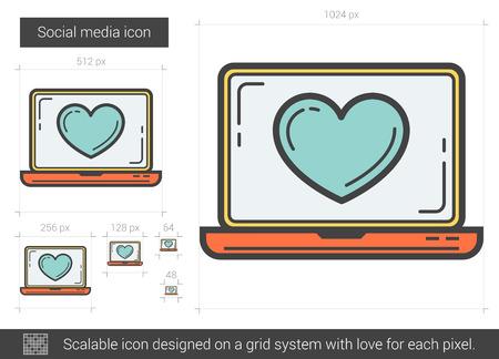 ソーシャル メディア ベクトル線のアイコンが白い背景で隔離。ソーシャル メディアは行グリッド システム設計インフォ グラフィック、web サイト  イラスト・ベクター素材