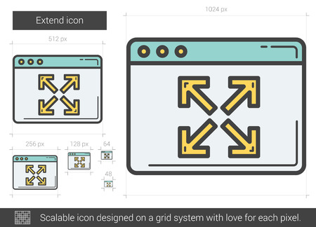 scalable: Extend vector line icon isolated on white background. Extend line icon for infographic, website or app. Scalable icon designed on a grid system. Illustration