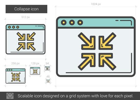 derrumbe: Reducir icono de la línea vector aislado en el fondo blanco. icono de la línea colapso de infografía, sitio web o aplicación. icono escalable diseñada en un sistema de red.