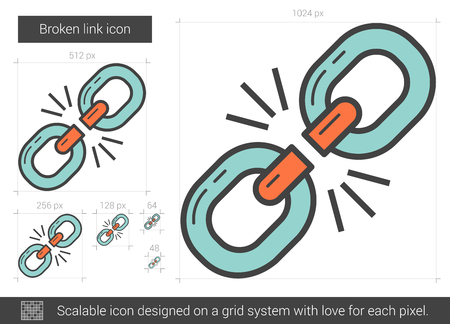 broken link: Broken link vector line icon isolated on white background. Broken link line icon for infographic, website or app. Scalable icon designed on a grid system. Illustration