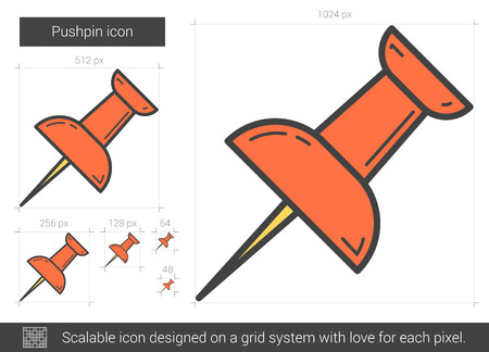 scalable: Pushpin vector line icon isolated on white background. Pushpin line icon for infographic, website or app. Scalable icon designed on a grid system. Illustration