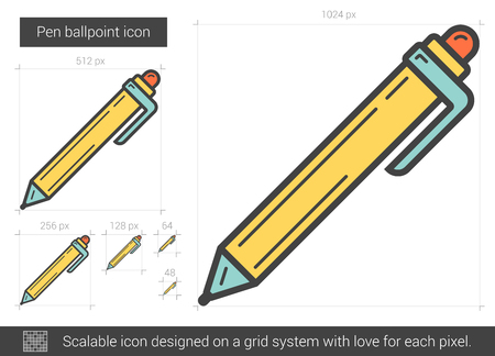 Pen ballpoint vector line icon isolated on white background. Pen ballpoint line icon for infographic, website or app. Scalable icon designed on a grid system. Illustration