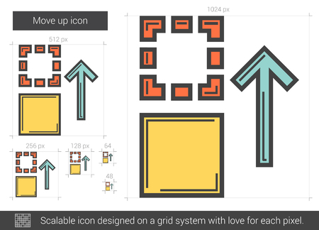 scalable: Move up vector line icon isolated on white background. Move up line icon for infographic, website or app. Scalable icon designed on a grid system.