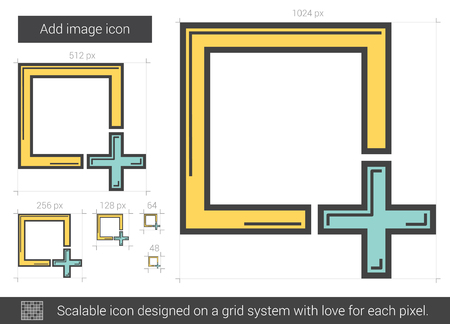 Add image vector line icon isolated on white background. Add image line icon for infographic, website or app. Scalable icon designed on a grid system. 向量圖像