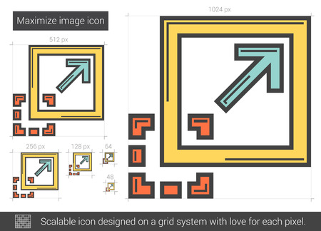 scalable: Maximize image vector line icon isolated on white background. Maximize image line icon for infographic, website or app. Scalable icon designed on a grid system.