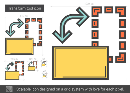 transform: Transform tool vector line icon isolated on white background. Transform tool line icon for infographic, website or app. Scalable icon designed on a grid system. Illustration