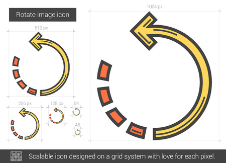 scalable: Rotate image vector line icon isolated on white background. Rotate image line icon for infographic, website or app. Scalable icon designed on a grid system. Illustration