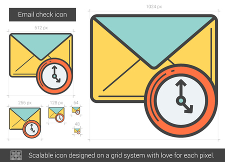 Email check vector line icon isolated on white background. Email check line icon for infographic, website or app. Scalable icon designed on a grid system.