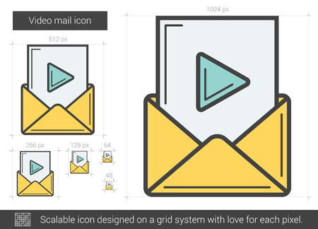 scalable: Video mail vector line icon isolated on white background. Video mail line icon for infographic, website or app. Scalable icon designed on a grid system.