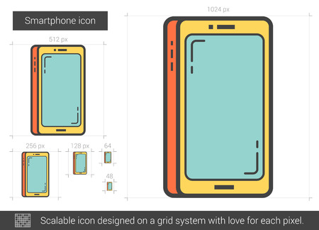 scalable: Smartphone vector line icon isolated on white background. Smartphone line icon for infographic, website or app. Scalable icon designed on a grid system.