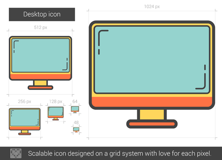 lcd tv: Desktop vector line icon isolated on white background. Desktop line icon for infographic, website or app. Scalable icon designed on a grid system.