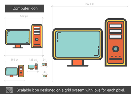 scalable: Computer vector line icon isolated on white background. Computer line icon for infographic, website or app. Scalable icon designed on a grid system. Illustration