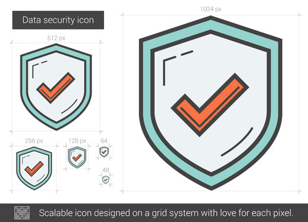 safeness: Data security vector line icon isolated on white background. Data security line icon for infographic, website or app. Scalable icon designed on a grid system.
