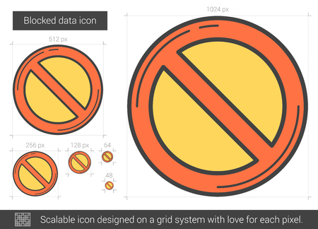 inappropriate: Blocked data vector line icon isolated on white background. Blocked data line icon for infographic, website or app. Scalable icon designed on a grid system.