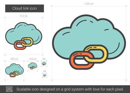 Cloud link vector line icon isolated on white background. Cloud link line icon for infographic, website or app. Scalable icon designed on a grid system.