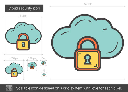 cloud security: Cloud security vector line icon isolated on white background. Cloud security line icon for infographic, website or app. Scalable icon designed on a grid system.