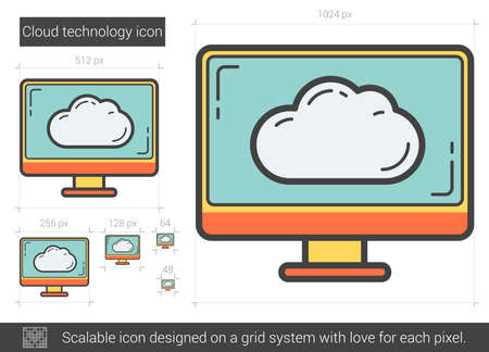 scalable: Cloud technology vector line icon isolated on white background. Cloud technology line icon for infographic, website or app. Scalable icon designed on a grid system.