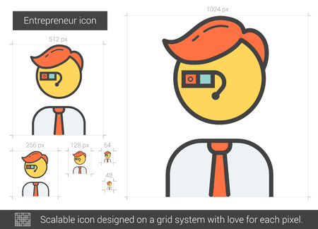 Entrepreneur vector line icon isolated on white background. Entrepreneur line icon for infographic, website or app. Scalable icon designed on a grid system. Ilustração