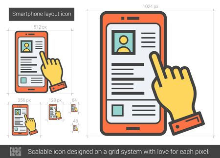 computer system: Smartphone layout vector line icon isolated on white background. Smartphone layout line icon for infographic, website or app. Scalable icon designed on a grid system. Illustration