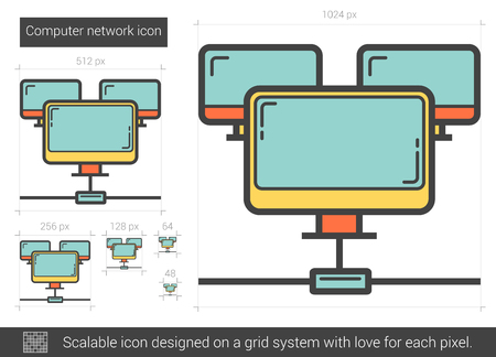 computer network: Computer network vector line icon isolated on white background. Computer network line icon for infographic, website or app. Scalable icon designed on a grid system.
