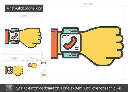 scalable: Wristwatch phone vector line icon isolated on white background. Wristwatch phone line icon for infographic, website or app. Scalable icon designed on a grid system. Illustration