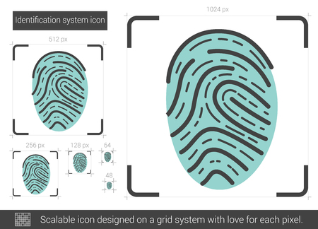 fingertip: Identification system vector line icon isolated on white background. Identification system line icon for infographic, website or app. Scalable icon designed on a grid system.