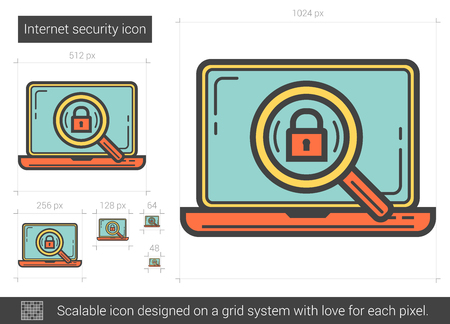 scalable: Internet security vector line icon isolated on white background. Internet security line icon for infographic, website or app. Scalable icon designed on a grid system. Illustration
