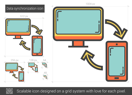 data synchronization: Data synchronization vector line icon isolated on white background. Data synchronization line icon for infographic, website or app. Scalable icon designed on a grid system.