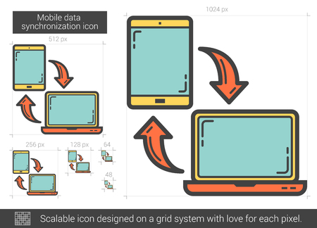 computer system: Mobile data synchronization vector line icon isolated on white background. Mobile data synchronization line icon for infographic, website or app. Scalable icon designed on a grid system. Illustration