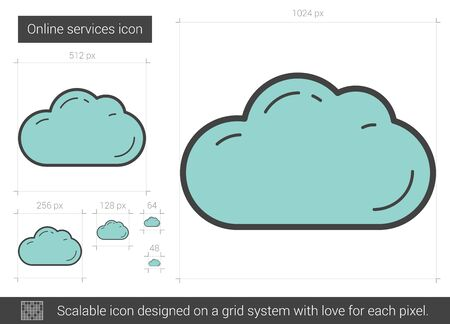 synchronizing: Online services vector line icon isolated on white background. Online services line icon for infographic, website or app. Scalable icon designed on a grid system.