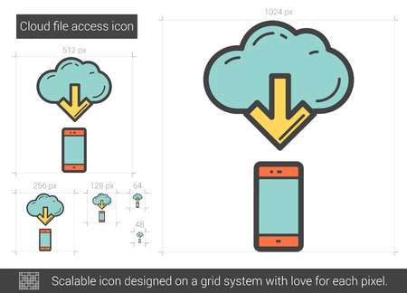 scalable: Cloud file access vector line icon isolated on white background. Cloud file access line icon for infographic, website or app. Scalable icon designed on a grid system.