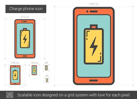 scalable: Charge phone vector line icon isolated on white background. Charge phone line icon for infographic, website or app. Scalable icon designed on a grid system.
