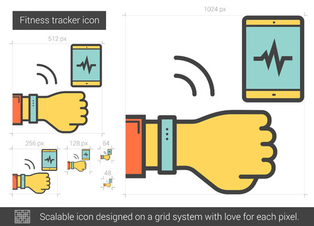 Fitness tracker vector line icon isolated on white background. Fitness tracker line icon for infographic, website or app. Scalable icon designed on a grid system. Illustration