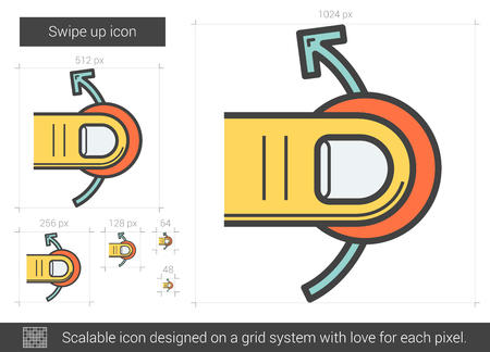 swipe: Swipe up vector line icon isolated on white background. Swipe up line icon for infographic, website or app. Scalable icon designed on a grid system.
