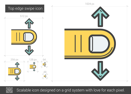 swipe: Top edge swipe vector line icon isolated on white background. Top edge swipe line icon for infographic, website or app. Scalable icon designed on a grid system. Illustration