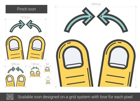 scalable: Pinch vector line icon isolated on white background. Pinch line icon for infographic, website or app. Scalable icon designed on a grid system.