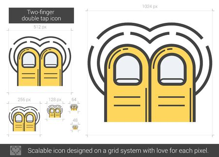 flick: Two-finger double tap vector line icon isolated on white background. Two-finger double tap line icon for infographic, website or app. Scalable icon designed on a grid system.