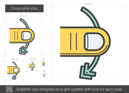 touchpad: Cross-slide vector line icon isolated on white background. Cross-slide line icon for infographic, website or app. Scalable icon designed on a grid system.