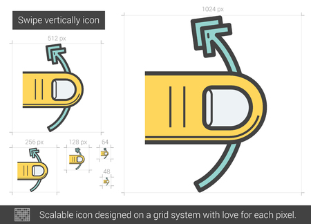 Swipe vertically vector line icon isolated on white background. Swipe vertically line icon for infographic, website or app. Scalable icon designed on a grid system.  イラスト・ベクター素材
