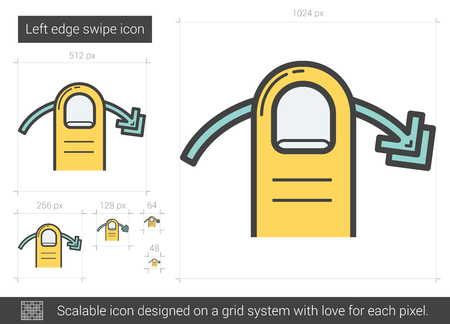 swipe: Left edge swipe vector line icon isolated on white background. Left edge swipe line icon for infographic, website or app. Scalable icon designed on a grid system.