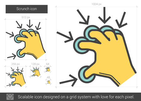 multi finger: Scrunch vector line icon isolated on white background. Scrunch line icon for infographic, website or app. Scalable icon designed on a grid system.