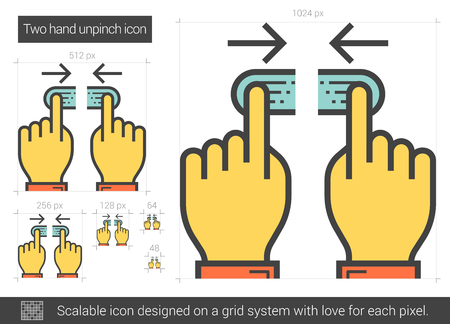 Two hand unpinch vector line icon isolated on white background. Two hand unpinch line icon for infographic, website or app. Scalable icon designed on a grid system.