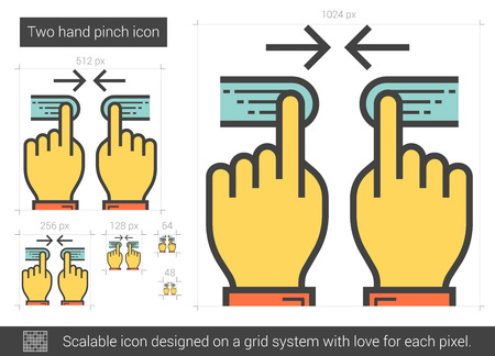 multitouch: Two hand pinch vector line icon isolated on white background. Two hand pinch line icon for infographic, website or app. Scalable icon designed on a grid system. Illustration